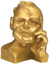 "Sculpture ""The Thinker"", version in golden cast stone"