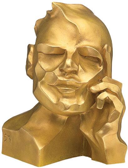 """Margot Stöckl: Sculpture """"The Thinker"""", version in golden cast stone"""
