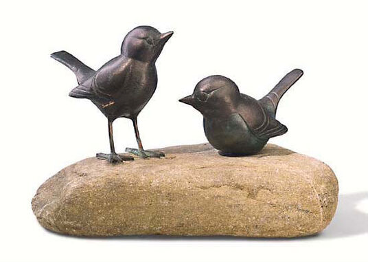"Garden sculpture ""Black pair of birds"" copper on stonen"