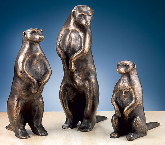 "Mechtild Born: Sculptures ""Meerkats I-III"" in a set, bronze"