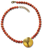 "Necklace ""Solar Wheel"" with culture corals"