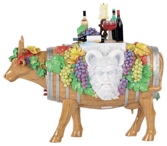 "Bernhard Prinz: Cow object ""Vino veritas"", art castings, hand painted"