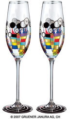 "(869A) Sparkling wine glass ""Coral Flowers"", 2 part set"