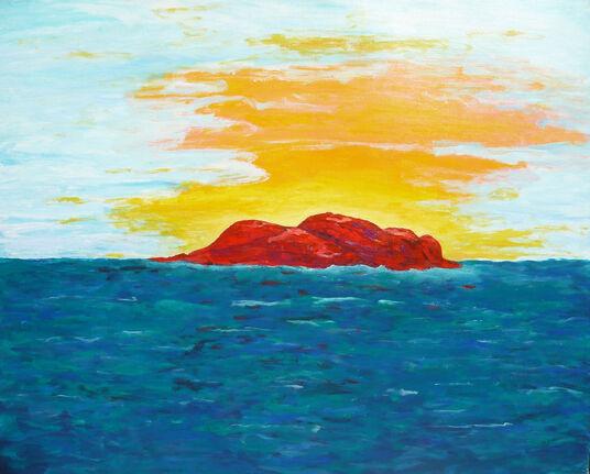 "Irene Kau: Bild ""Red Rock"" (1991) (Original / Unikat), ungerahmt"
