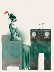 """Bild """"Dame mit Hut und Hund bei Tisch"""" (1980)"""