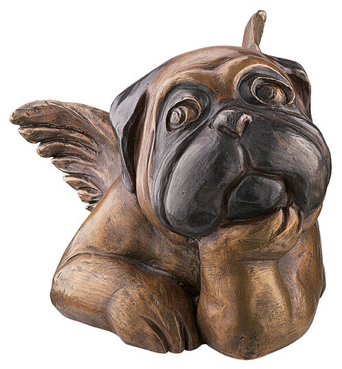 Loriot: Sculpture 'Sistine Pug (resting on the chin)', version in bronze