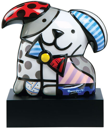 "Romero Britto: Porcelain Sculpture ""Dog Ginger"", Hand Painted"