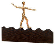 "Sculpture ""On the Wave of Success"", Bronze and Wood"