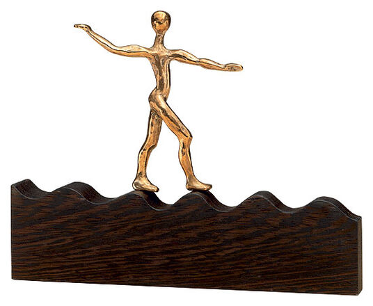 "Raimund Schmelter: Sculpture ""On the Wave of Success"", Bronze and Wood"