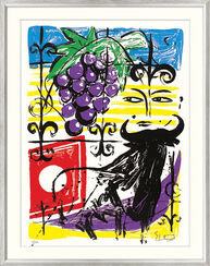 "Bild ""Grapes and Bull"" (2000), gerahmt"