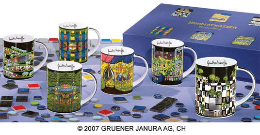 Friedensreich Hundertwasser: Magic Mugs 6 part set, porcelain