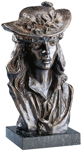 """Auguste Rodin: Sculpture """"The girl with the Rose on her hat"""", bronze artedition"""