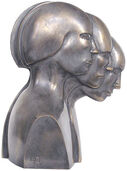 Sculpture 'Head Movement', silver-plated bronze