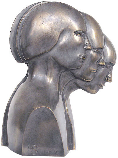 Lutz Brockhaus: Sculpture 'Head Movement', silver-plated bronze