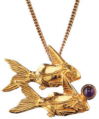 """Ancient Egyptian zodiac sign Necklace """"Pisces"""" (20.2. -20.3.) with lucky stone."""