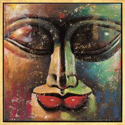 """Bild """"Kleiner Buddha, gold-grün"""", gerahmt"""