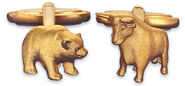 "Cuff Links ""Bull and Bear"", gold-plated"