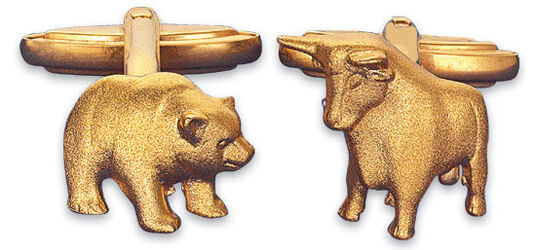 "Christiane Wendt: Cuff Links ""Bull and Bear"", gold-plated"