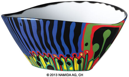 "Friedensreich Hundertwasser: Bowl ""The Magical Garden"", Small Version Blue"
