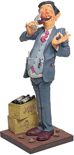 "Guillermo Forchino: Caricature ""The Wine Taster"", hand-painted polyresin"