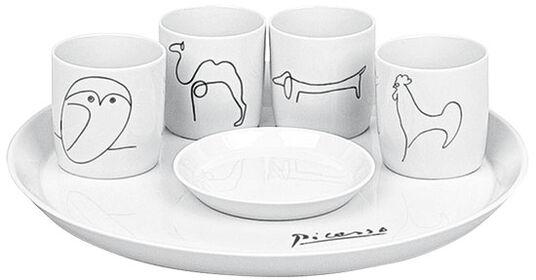 Pablo Picasso: 6-teiliges Espresso-Set mit Künstlermotiven, Porzellan