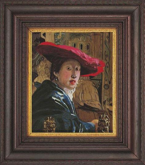 """Jan Vermeer van Delft: Bild """"Mädchen mit rotem Hut"""", gerahmt"""
