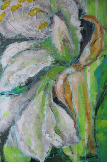 """Emilia Fernandez: Bild """"Amaryllis"""" (2010) (Original / Unikat), gerahmt"""