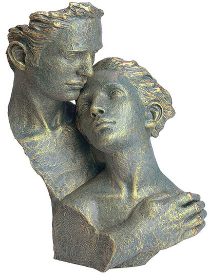 "Angeles Anglada: Skulptur ""Desvolo"", Kunstguss Steinoptik"