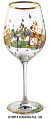 "(PM XIX/6) Wine glass ""BEAUTY IS A PANACEA - Gold - red wine"""