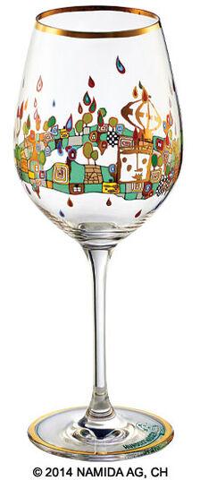 "Friedensreich Hundertwasser: (PM XIX/6) Weinglas ""BEAUTY IS A PANACEA - Gold - Rotwein"""