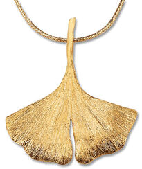 Ginkgo necklace in 925 sterling silver, gilded