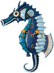 "Wall Clock ""Seahorses"", Ceramics Painted by Hand"