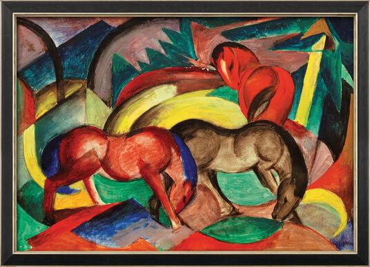 """Franz Marc: Bild """"Drei Pferde"""" (1912), gerahmt"""