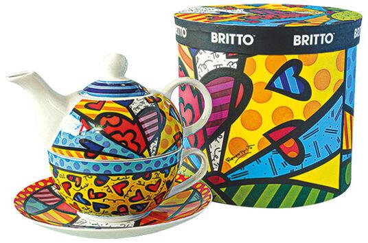 """Romero Britto: Teekanne mit integrierter Tasse """"A New Day"""", Porzellan"""