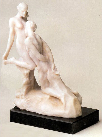 "Auguste Rodin: Sculpture ""Eternal Idol"" (idols éternelle), artificial marble"