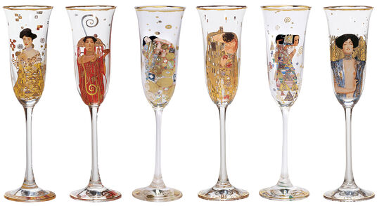 Gustav Klimt: Six-piece set of champagne glasses