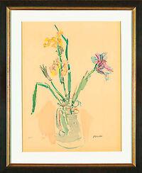 """Bild """"Gelbe und violette Iris"""" (1980), gerahmt"""