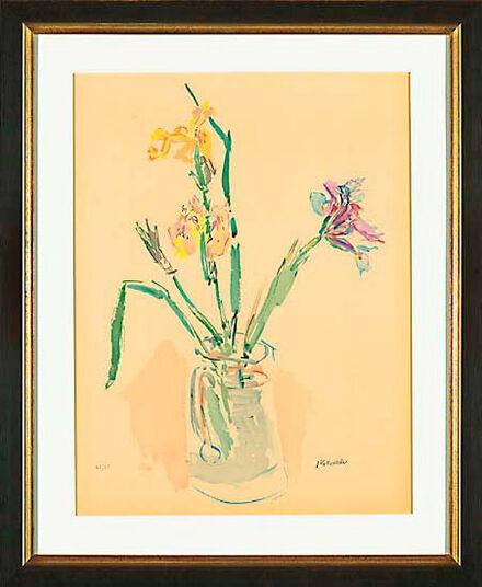 """Oskar Kokoschka: Bild """"Gelbe und violette Iris"""" (1980), gerahmt"""