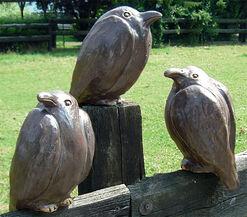 """Three Garden Sculptures """"Ravens"""" in a Set"""