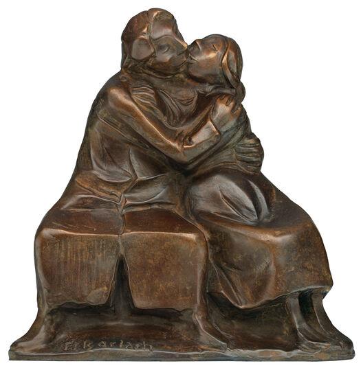 "Ernst Barlach: Skulptur ""Kussgruppe I"" (1921), Reduktion in Bronze"