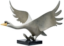 """Skulptur """"Schwan"""", Bronze weiß/hellgrau"""