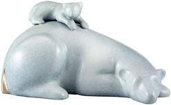Sculpture 'Polar Bear with Baby', bronze