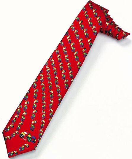 """Otmar Alt: Silk tie """"Roundabout Traffic"""", red version"""
