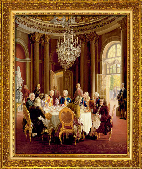 """Painting """"The Round Table"""" (1750) in a frame"""