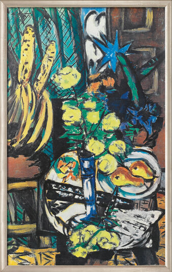 "Max Beckmann: Picture ""Yellow Roses"" (1937) in gallery framing"