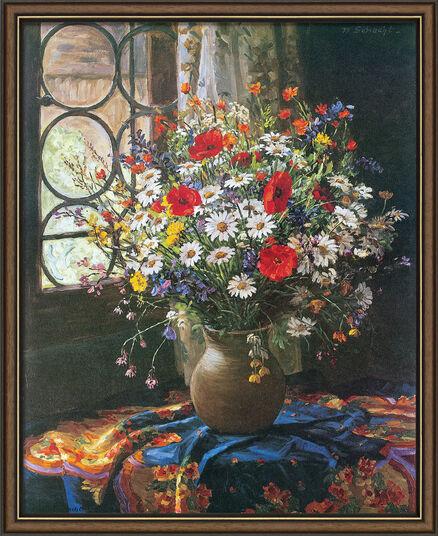 """Wilhelm Schacht: Art print """"Bouquet of Field Flowers"""", framed"""