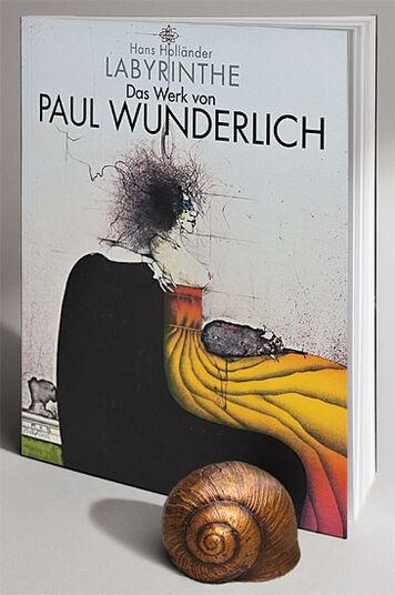 """Hans Holländer: Buch """"Labyrinthe - Das Werk von Paul Wunderlich"""" - mit Skulptur """"Schneckenhaus"""""""