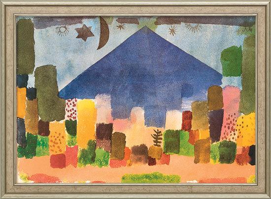 "Painting ""Mount Niesen – Egyptian Night"" (1915) in gallery framing"