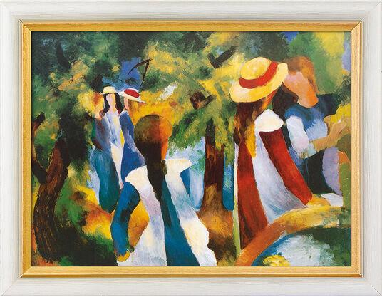 """August Macke: Bild """"Mädchen unter Bäumen"""" (1914), gerahmt"""