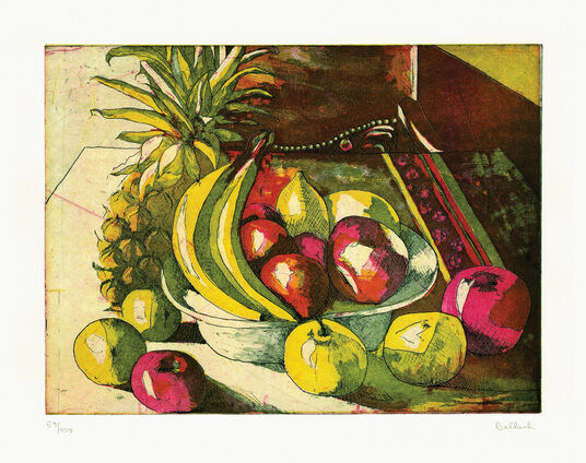 "Petra Balbach: Painting ""Still life with Pineapple"" (1996)"
